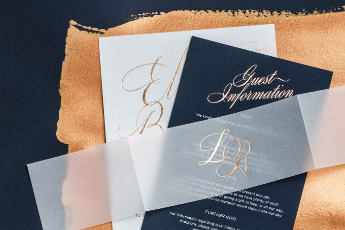 Foil Wedding Invitation Set with a Vellum Belly Band | Luxury Wedding Stationery by the Foil Invite Company