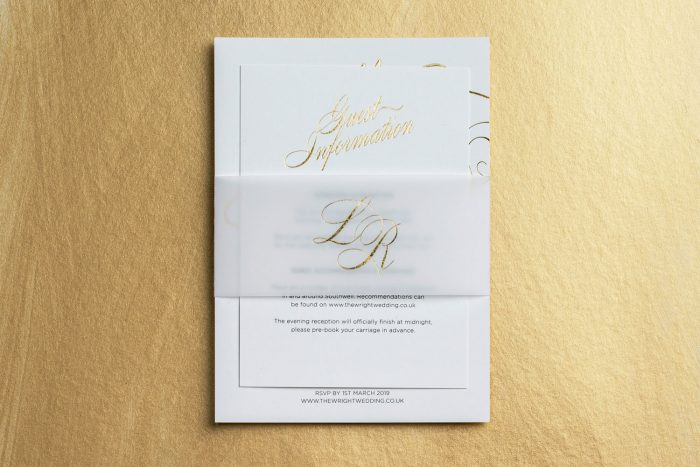 Script Wedding Invitation Set with a Bespoke Belly Band | Gold Foil Wedding Stationery by the Foil Invite Company
