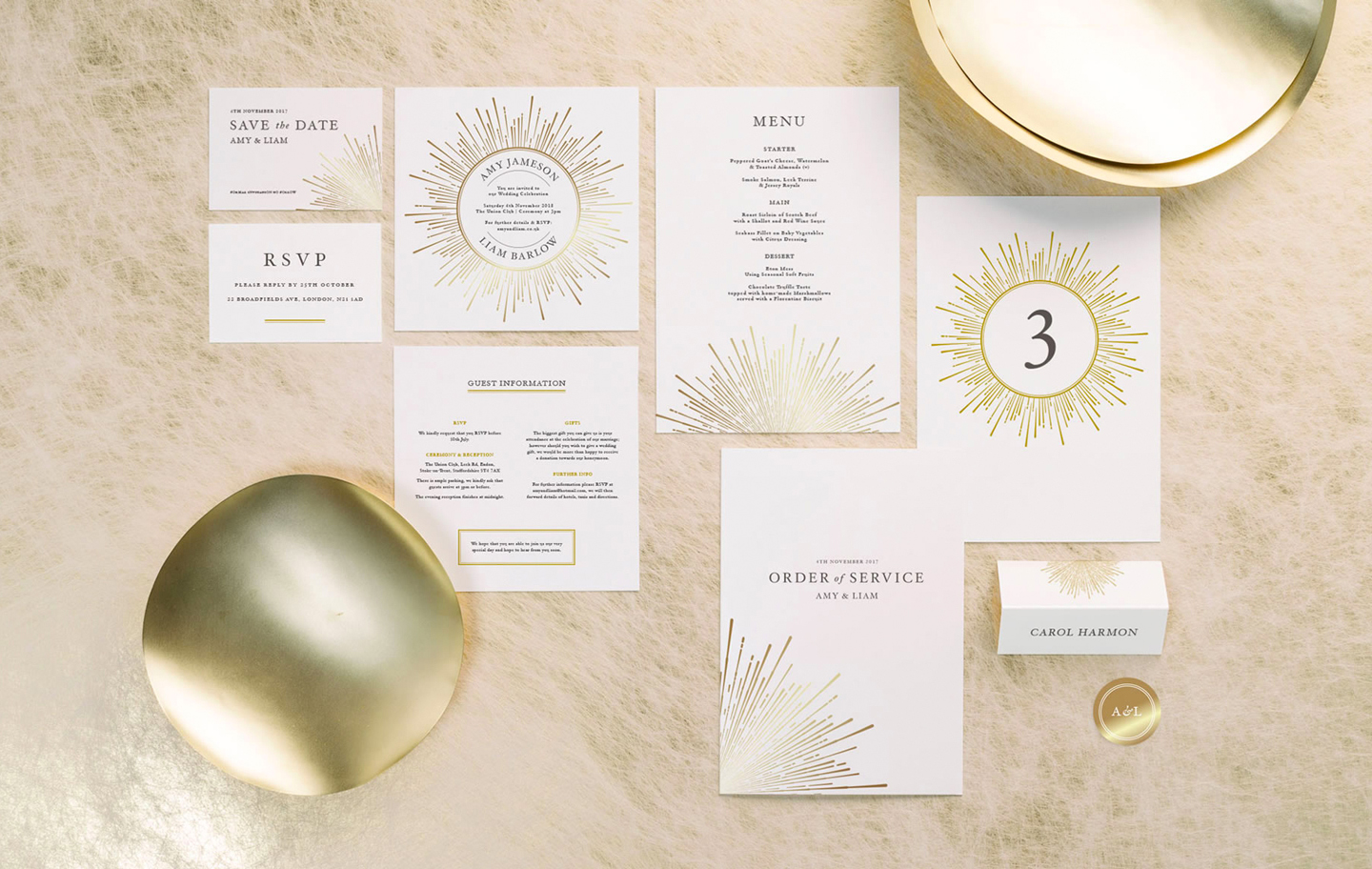 Gold Wedding Invitations | Stationery Inspiration by The Foil Invite Company