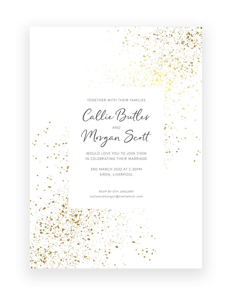 Glitter Invitation with Gold Foil