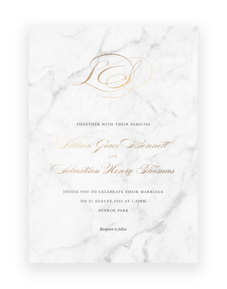 Monogram Hot Foil Wedding Invitation