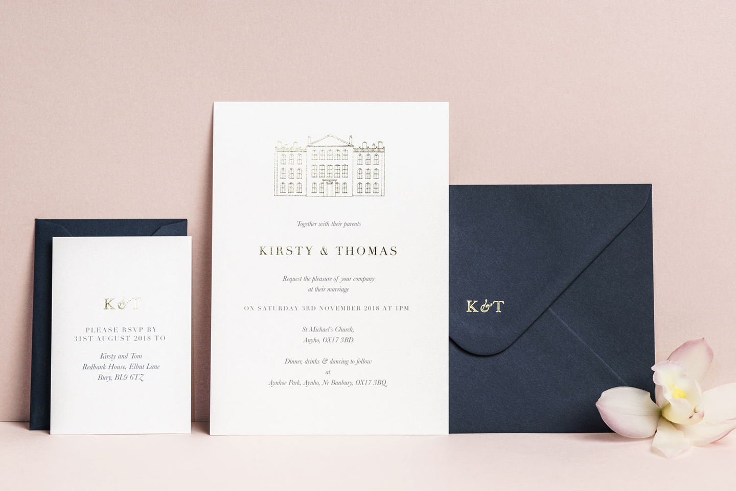 Modern Venue Illustration Invitation with Foil Pressed envelopes and matching RSVP Cards | Top Wedding Stationery Trends 2020 | Foil Invite Company Blog