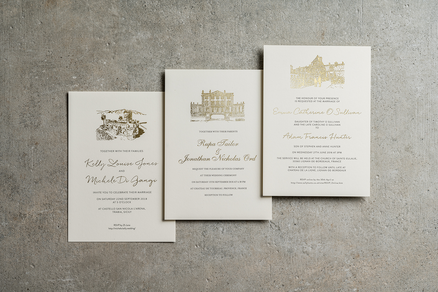 Gold Foil Venue Illustration Invitations | Top Wedding Stationery Trends 2020 | Foil Invite Company Blog