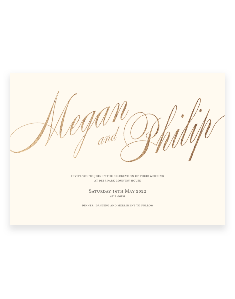 Pemberley Invitation with gold foil