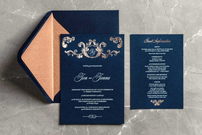 Beaumont Invitation Information Card and Envelope Liner Navy and Rose Gold
