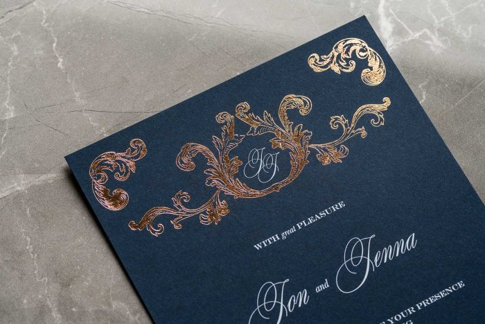 Beaumont Invitation Navy and Rose Gold Foil
