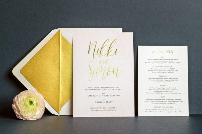 Carnaby Invitation Information Card and Gold Envelope Liner Blush Pearl and Gold Foil