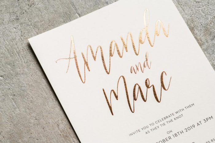Carnaby Invitation Ivory Card Copper Foil