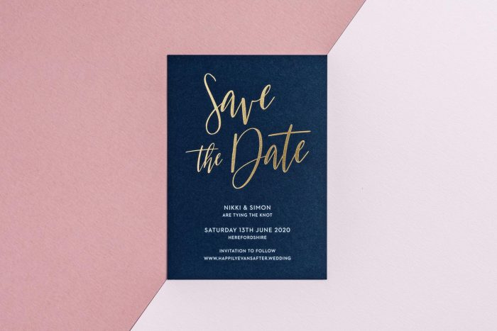 Carnaby Save the Date Navy Card Gold Foil