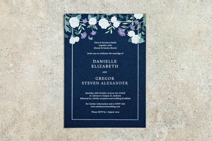 Choose Your Own Flowers Invitation Silver and Navy WL