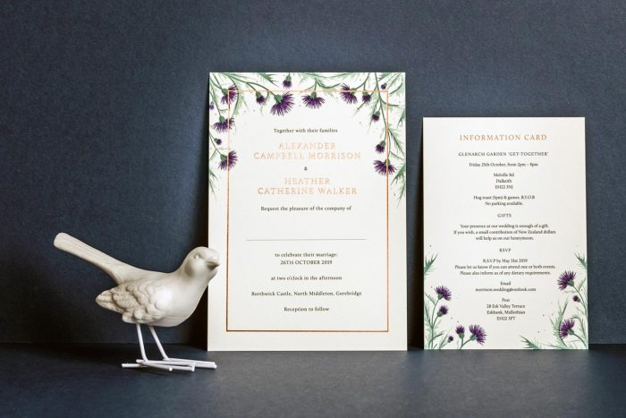 Choose Your Own Flowers Invitation and Information Card Copper and Ivory WL