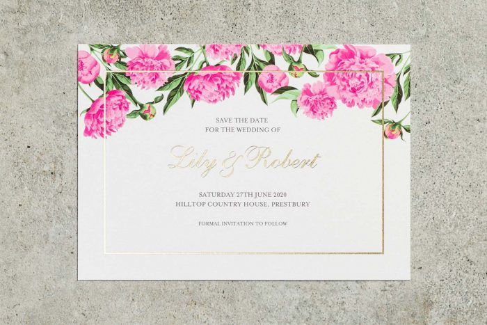 Choose Your Own Flowers Save the Date Gold and Pearl WL