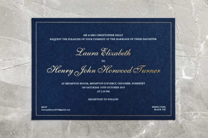 Classic Invitation Navy and Gold Foil