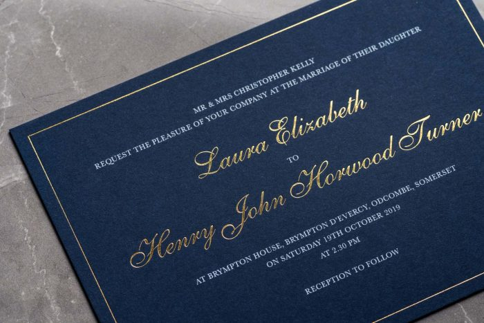 Classic Invitation Navy and Gold Foil Zoom