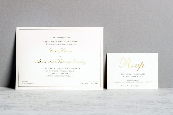 Classic Invitation and RSVP Gold and Ivory