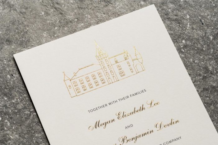 Modern Venue Invitation Gold and Ivory