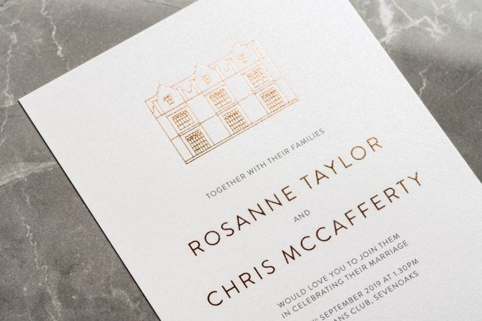 Modern Venue Invitation Rose Gold and Pearl