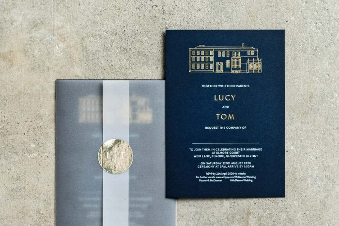Modern Venue Invitation and Vellum Wrap Gold and Navy