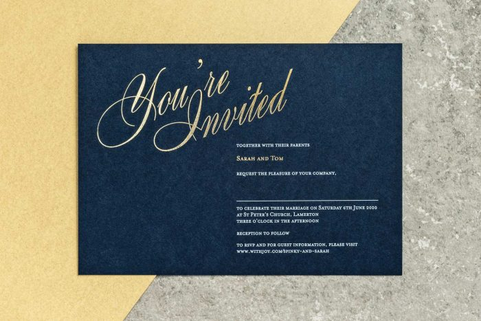 Pemberley Invitation Navy and Gold Foil