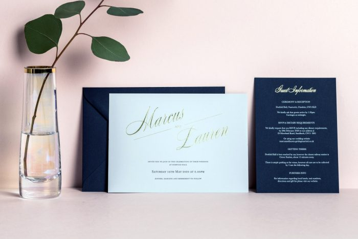Pemberley Names Invitation Feather Grey Navy and Gold Foil