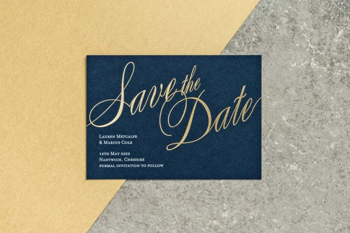 Pemberley Save the Date Navy and Gold Foil