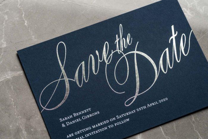 Pemberley Save the Date Navy and Silver Foil