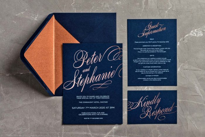 Script Collection Navy and Rose Gold Foil