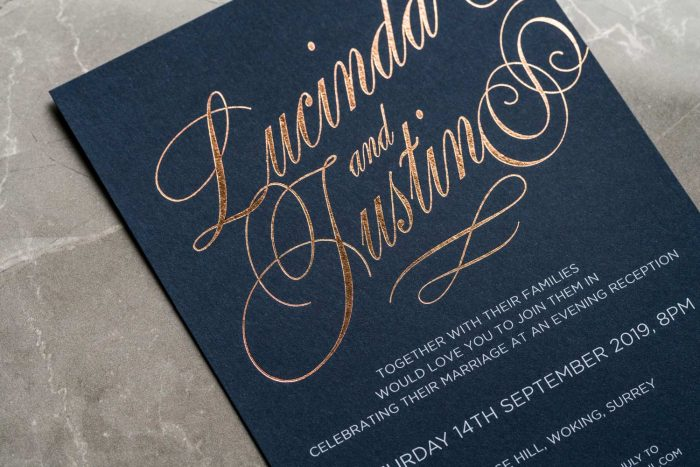 Script Invitation Navy and Rose Gold Foil Zoom