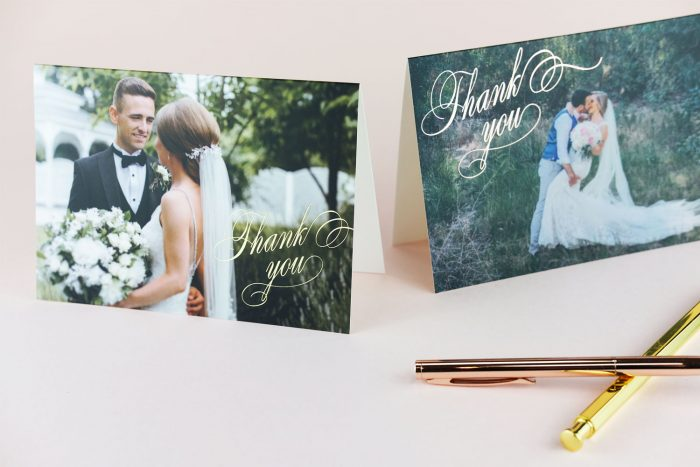 Script Thank You Card Gold and Rose Gold