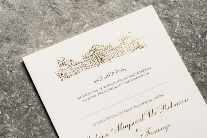 Sketched Venue Invitation Gold and Ivory