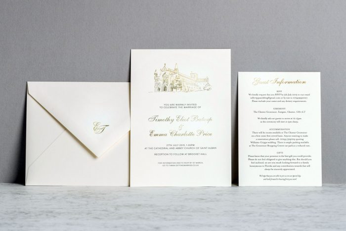 Sketched Venue Invitation Info Card Envelope Gold and Ivory