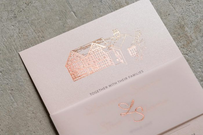 Sketched Venue Invitation and Belly Band Rose Gold and Blush