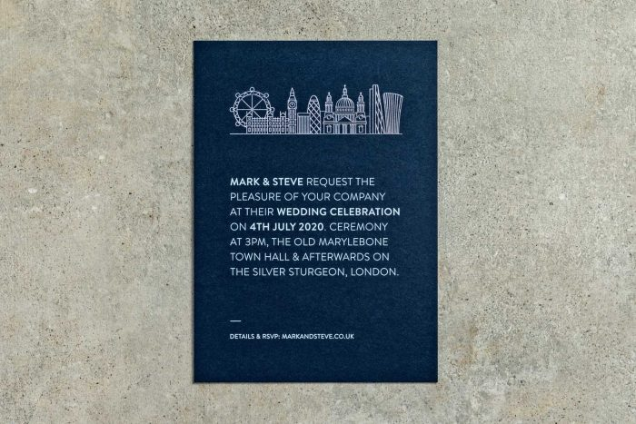 Skyline London Invitation Silver and Navy