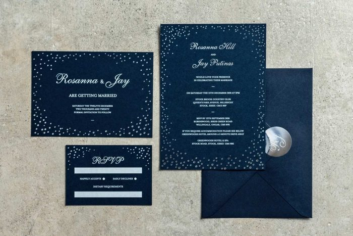Sparkle Collection Navy and Silver foil