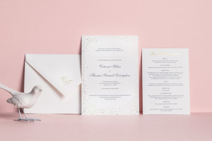 Sparkle Invitation Information Card RSVP Card White and Gold Foil