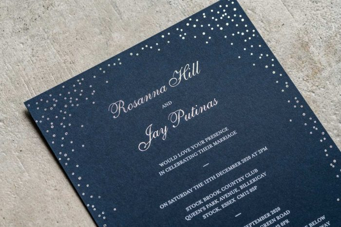 Sparkle Invitation Navy and Silver Foil