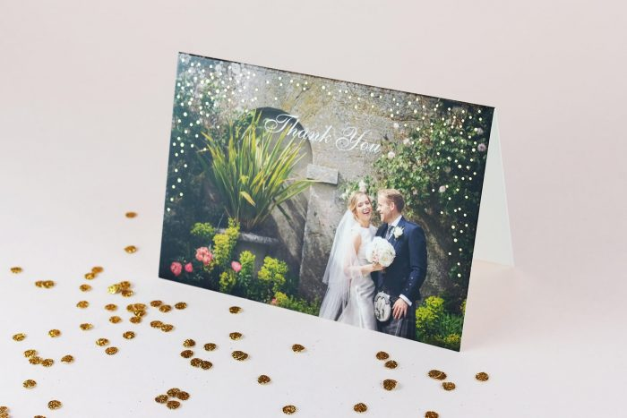 Sparkle Thank You Card Gold Foil