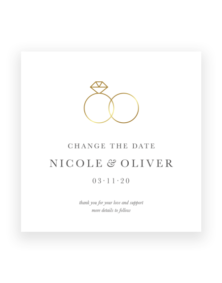 forever foil pressed wedding postponement card