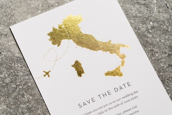 Italy Map Save the Date Card with Gold Foil
