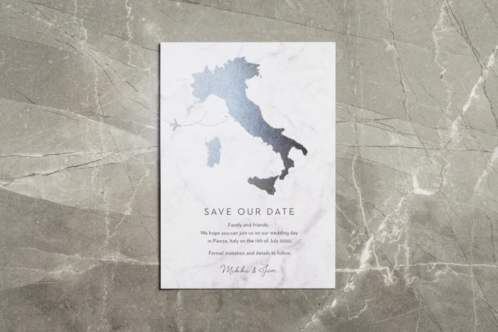 Italy Map Save the Date Card with Silver Foil