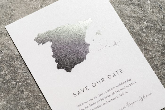 Spain Map Save the Date Card with Silver Foil